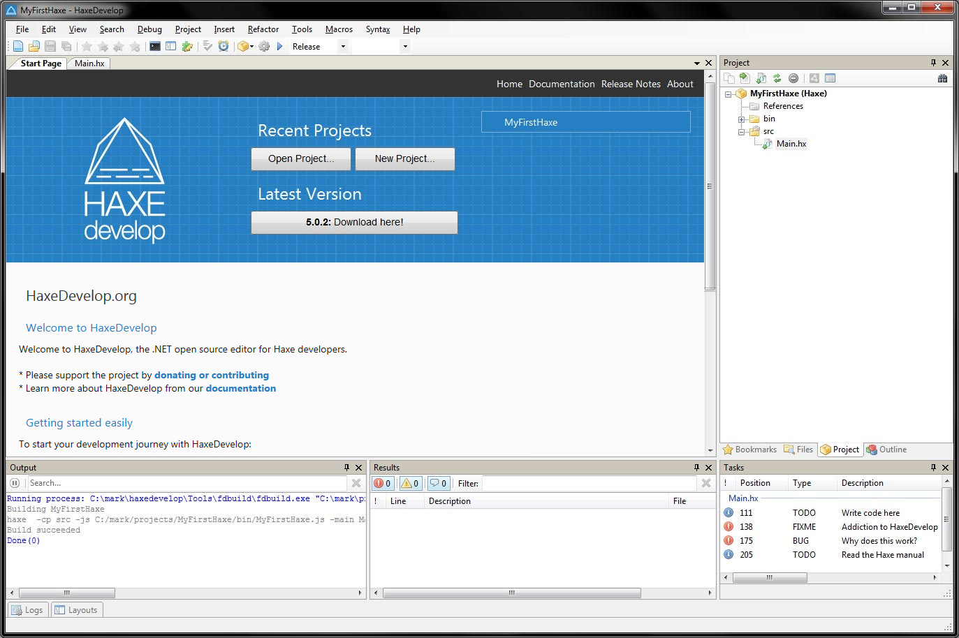 HaxeDevelop screenshot