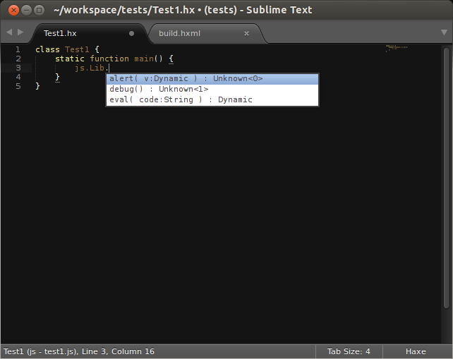 Sublime Text screenshot demonstrating Haxe auto-completion