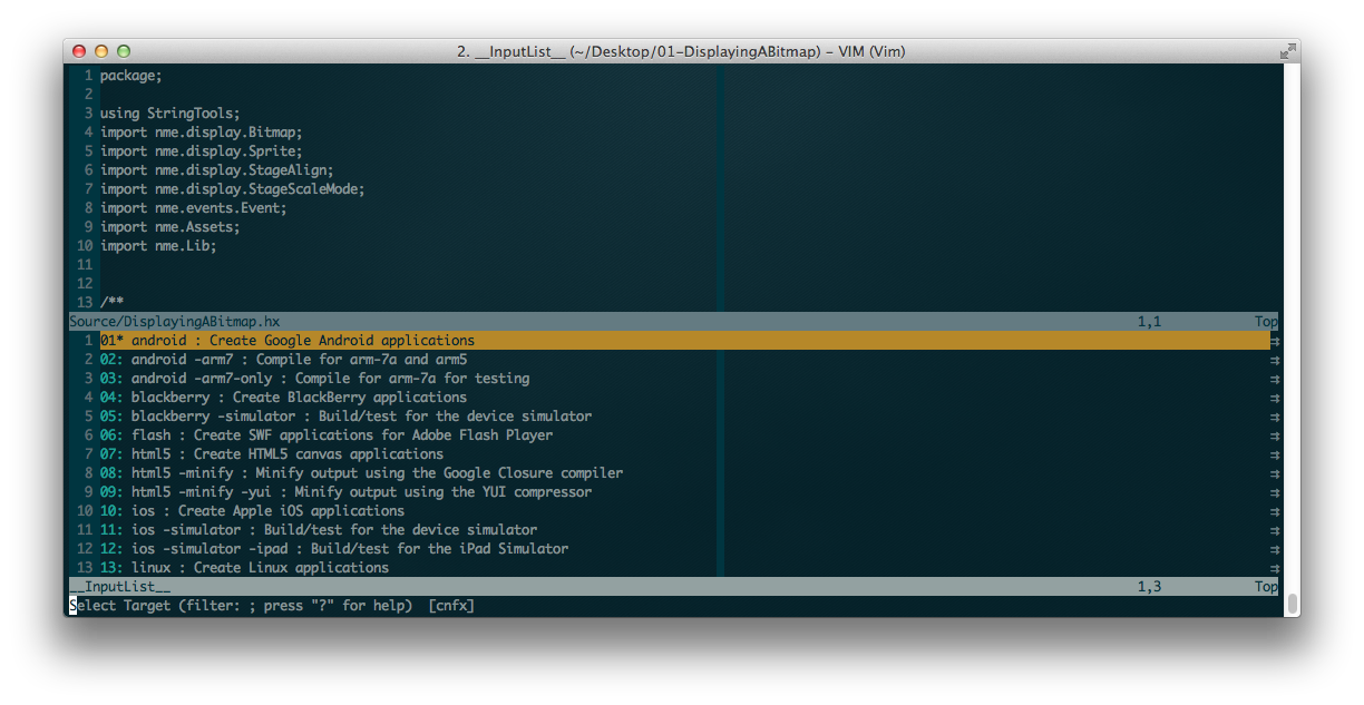 VIM with Vaxe screenshot demonstrating Lime build options.